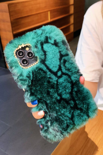 front_Blythe Eunice Green Snakeskin Print Plush Phone Case