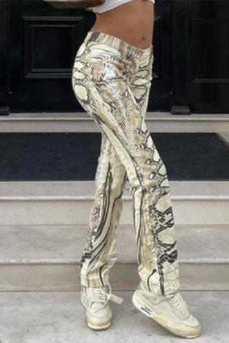 back_Mid Waist Snakeskin Print Straight Leg Multicolor Pants
