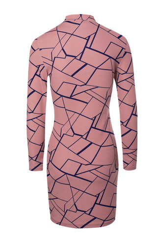 back_Hypnotic Dusty Pink Geometric All Over Print Bodycon Dress