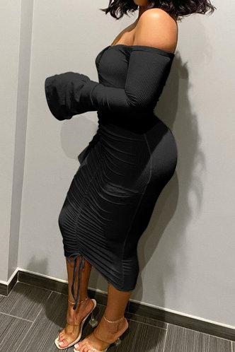 back_Long Off the Shoulder Black Plain Dress