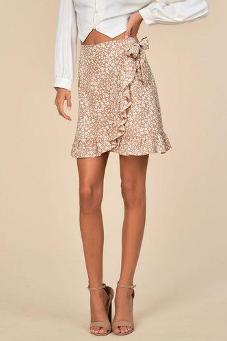 front_Jennifer Edith Pink Floral Print Skirt