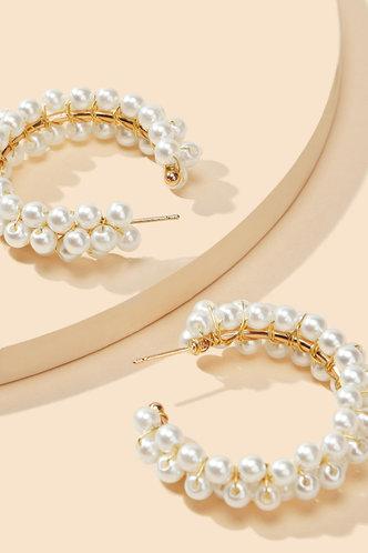 front_Apple Ella White Faux Pearls Charm Beaded Earrings 1pair