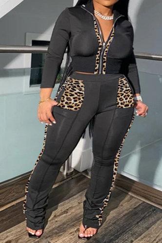 front_Zipper Up Black Plus Size Pants Sets