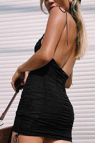 back_Colette Elaine Black Tie Shoulder Ruched Dress