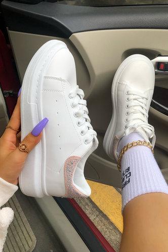 back_Plain Flat Round Toe White Sneakers