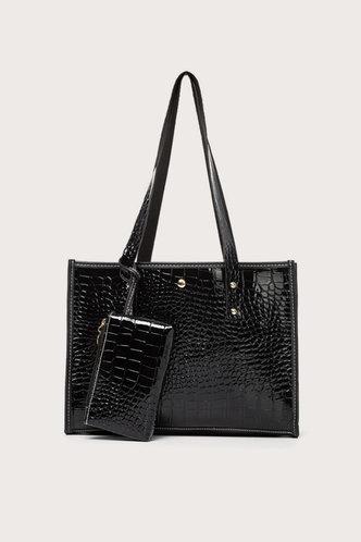 front_Plain Zipper Up Black Tote Bags