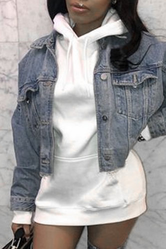 front_Street Hooded Collar White Sweatshirts & Hoodies