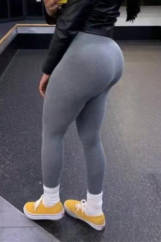 back_Mid Waist Plain Pencil Pants Light Grey Leggings