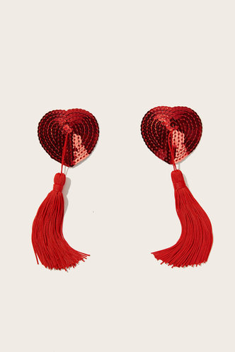 front_Annabella Edwina Red Tassel Charm Sequin Nipple Cover 1pair