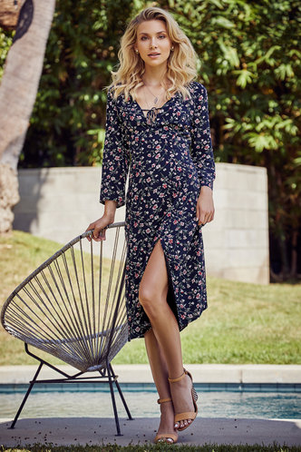 front_Amy Elaine Dark Navy Floral Print Midi Dress