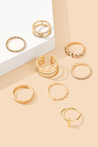 back_Jasmine Ella Gold Rhinestone Charm Ring 8pcs
