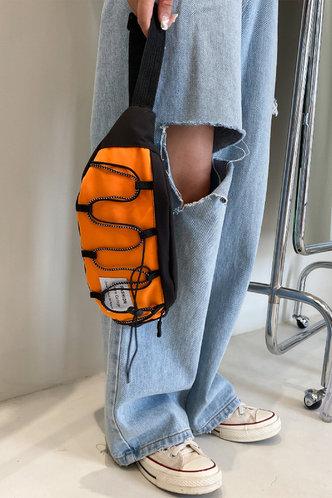 front_Color Block Bandage Zipper Up Orange Bum Bags