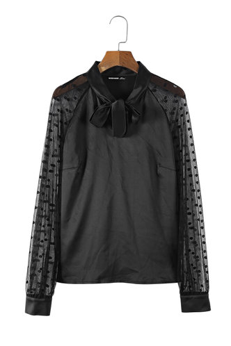 front_Fall In Love Black Sheer Sleeve Blouse