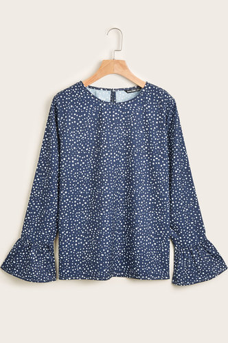 front_Talented Navy Blue Dots Print Blouse