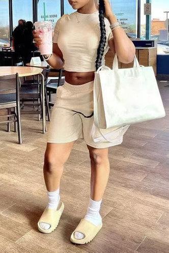 back_Joanne Eudora Beige Shorts Set