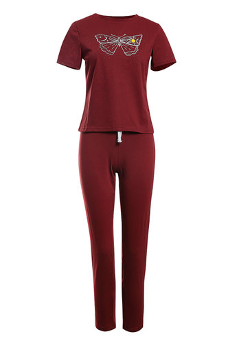 front_Modern Girl Burgundy Lounge Set