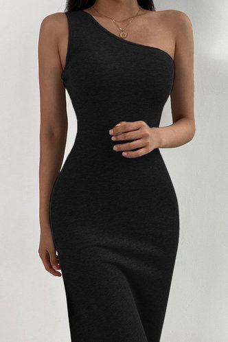 front_Eartha Elaine Black One Shoulder Dress