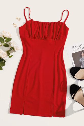 back_Shirley Elaine Red Split Hem Cami Dress