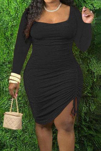 front_Kittie Eudora Black Plus Drawstring Side Bodycon Dress