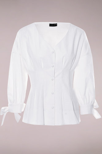 front_Because The Night White Button Up Top