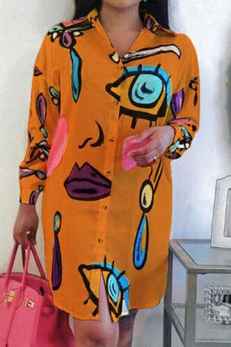 front_Bridget Karlan Orange Button Up Shirt Dress