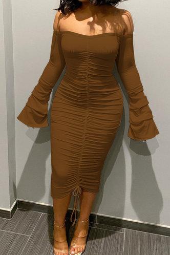 front_Long Off the Shoulder Coffee Plain Dress