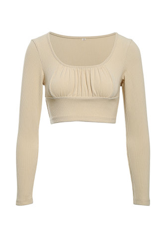 front_Better Together Apricot Crop Top