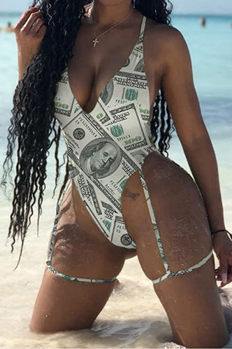 front_Dinah Glaving Dollar Print One-Piece Swimsuit
