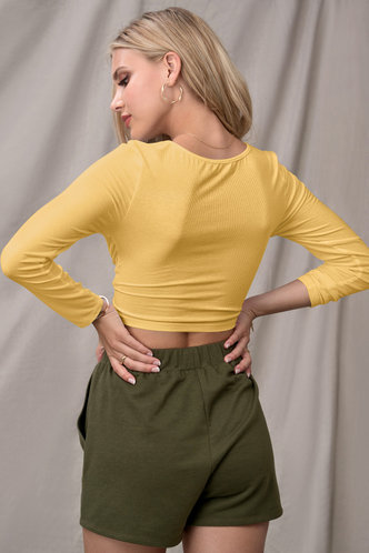 back_Confidence Is Key Yellow Long Sleeve Top