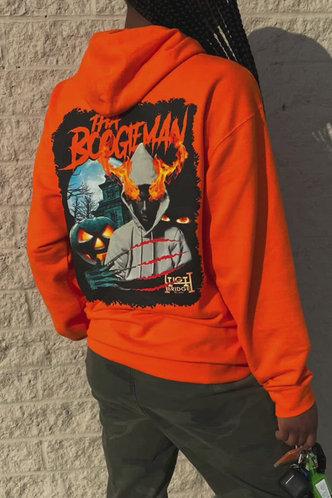 front_Street Hooded Collar Cartoon Orange Sweatshirts & Hoodies