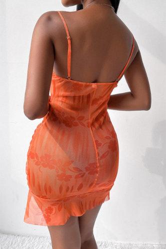 back_Georgia Marsaus Orange Drawstring Side Cami Bodycon Dress