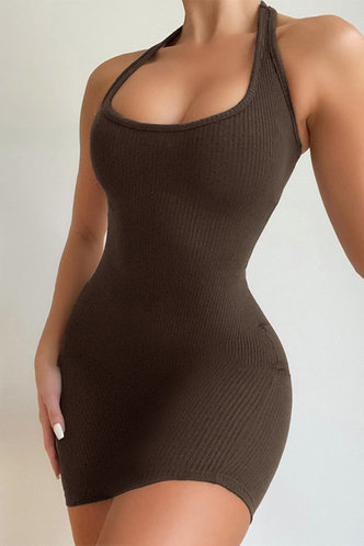back_Janet Edwina Brown Bodycon Halter Dress