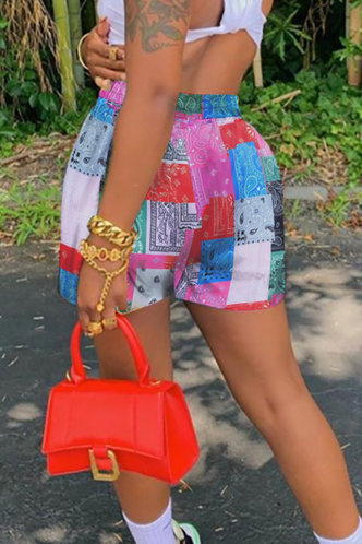 back_Darleen Elsa Rose Pink Paisley Print Shorts