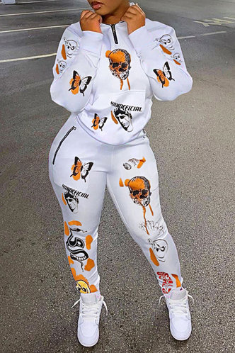 front_All Over Print Skull head White Pants Sets