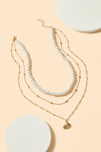 front_Antigone Eleanore White Faux Pearls Design Layered Necklace