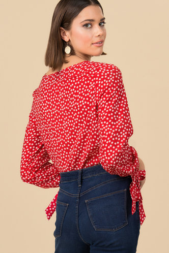 back_Hello Cutie Red And White Floral Blouse