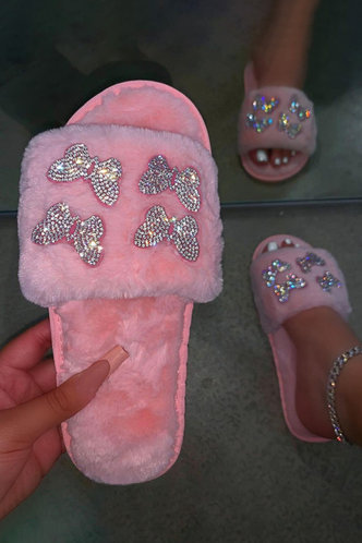 front_Graphic Print Flat Pink Slippers