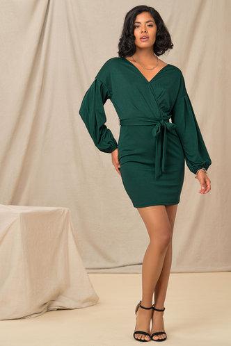 front_Business Long Sleeve Dark Green Plain Dresses
