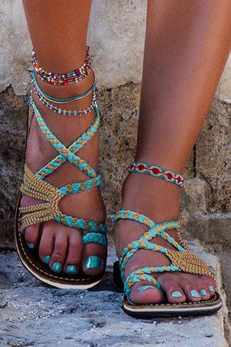 front_Bonnie Elva Mint Green Gladiator Sandals