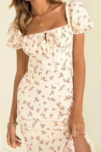 back_Dolores Hakil Floral Print Split Hem Tie Front Dress