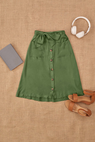 front_Street Lamp Army Green Skirt