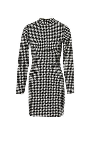 back_Hound Heart Black And White Houndstooth Bodycon Dress