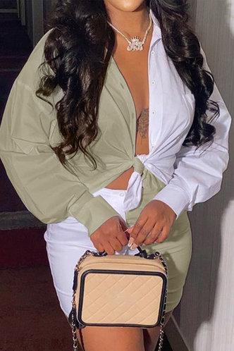 front_Gwendolyn Evangeline White And Khaki Plus Size Skirt Set