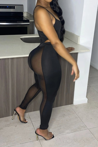 back_Sexy Plain U Neck Black Jumpsuits