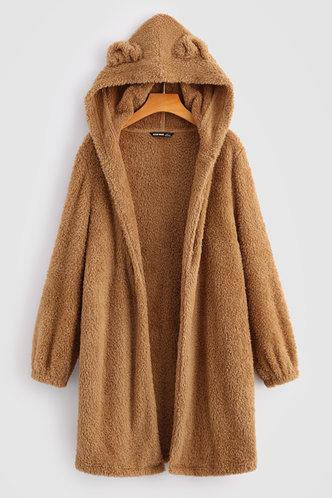 front_Cozy Bear Brown Teddy Coat