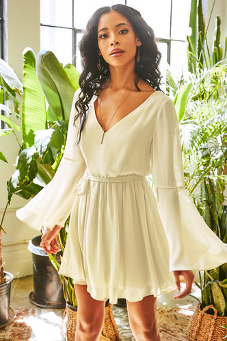 front_Perfectly Neutral Champagne Mini Dress