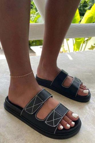 front_Leilani Eudora Black Slide Sandals