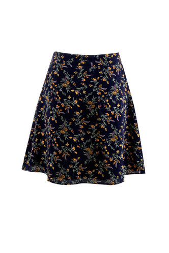 back_Floral & Flirty Dark Navy Floral Print Skirt