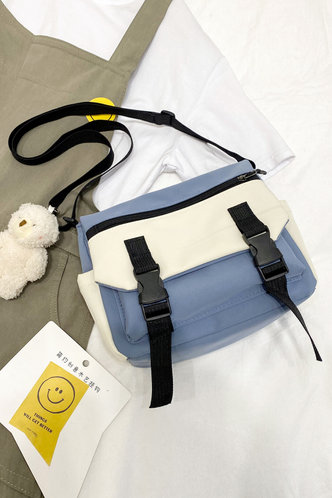 front_Blue And White Crossbody Bags