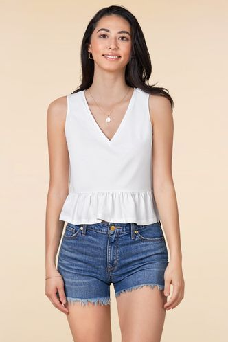 front_Steady Love White Sleeveless Top